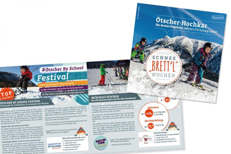 Schnee Brettl Wochen – Werbebroschüre für Lehrer