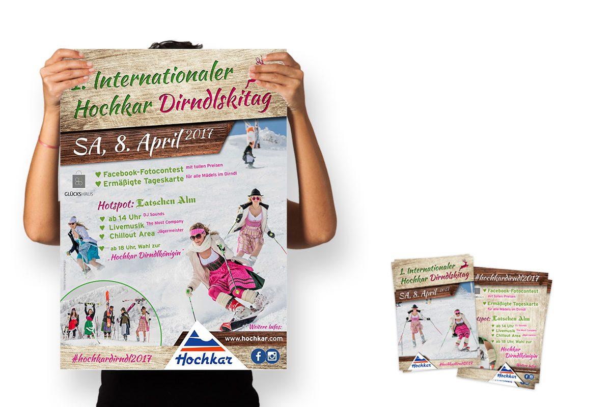 Plakat und Flyer für den Dirndlskitag am Hochkar