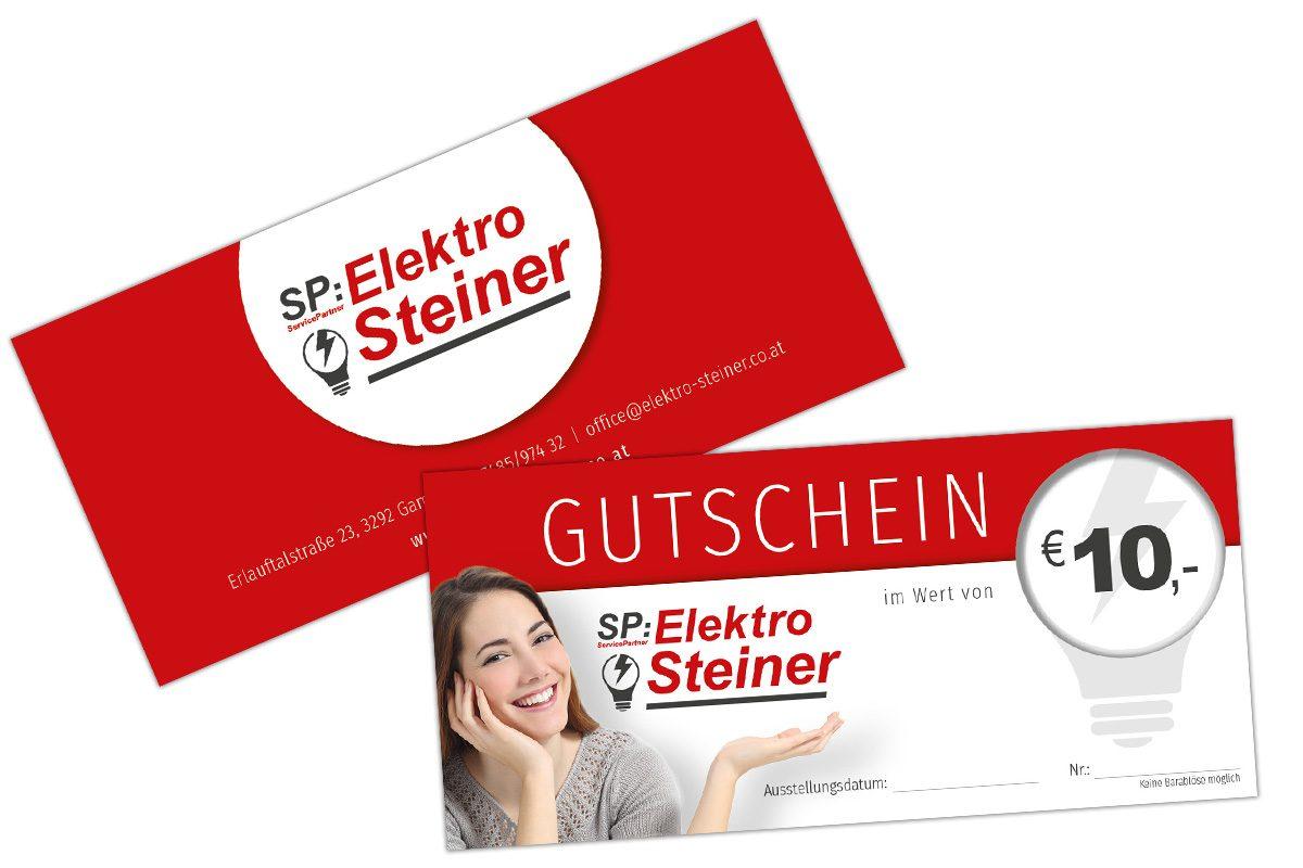 Logodesign, Gutscheingestaltung für Elektro Steiner