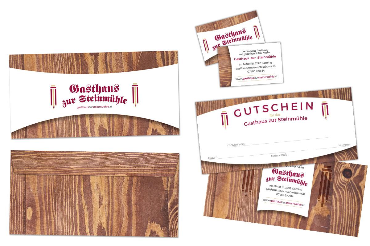 Gasthaus Steinmühle – Gestaltung und Druck von Briefkuverts, Gutscheinen und Visitenkarten