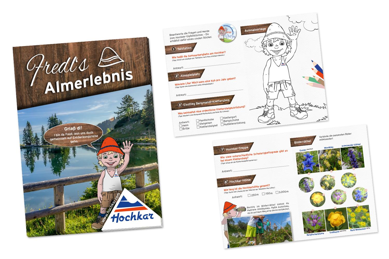 Fredls Almerlebnis: Druckdatenaufbereitung A6 Magazin und Goodiebag (Karabiner, Turnbeutel, Traubenzucker, Buntsifte, Sticker, Regenponcho)
