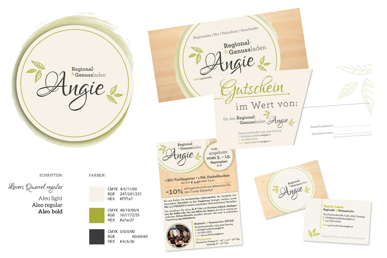 Regional- & Genussladen Angie: Logodesign, Gutscheine, Inserat, Visitenkarten