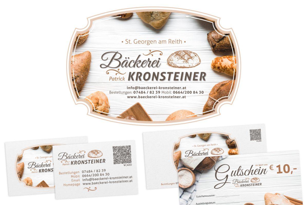 Bäckerei Kronsteiner - Logodesign, Gutscheine, Aufkleber, Autobeklebung, Visitenkarten, Stempel